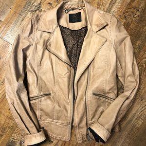 Women's Zara leather jacket size medium- light tan